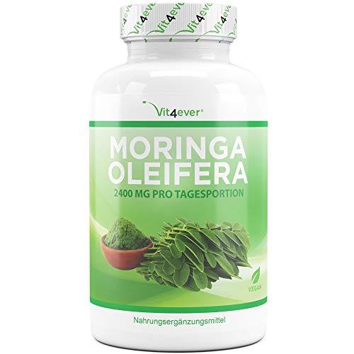 Vit4ever Moringa 600-240 Kapseln - 600 mg pro Kapsel - Laborgeprüft - 2 Monatsvorrat - Hochdosiert mit 2400 mg pro Tagesportion - Natürliches Moringa Oleifera Blattpulver - Vegan - Vit4ever