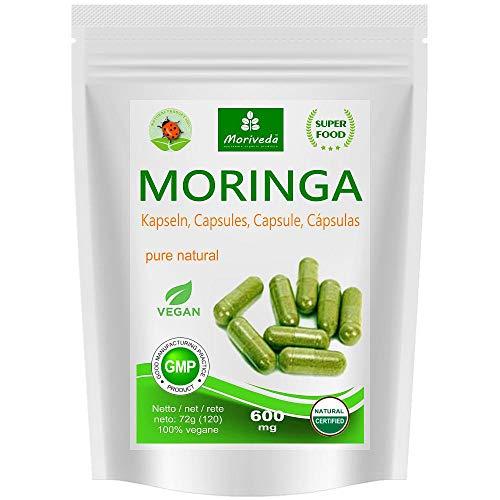 Moringa Kapseln 600mg oder Moringa Energy Tabs 950mg - Oleifera, vegan, Qualitätsprodukt von MoriVeda (120 Caps)