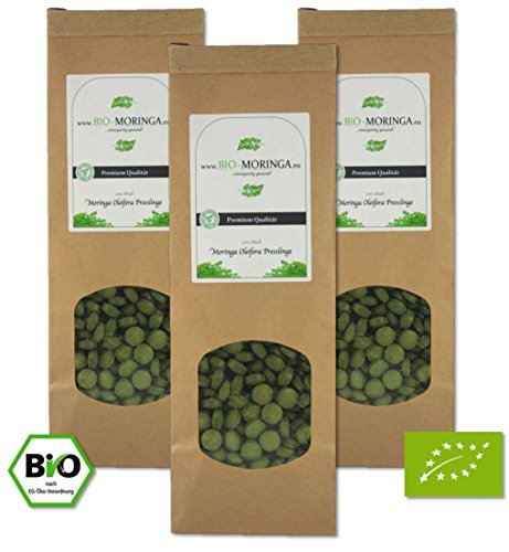 Unsere Empfehlung: 3 x 200 Moringa Presslinge (500mg Tabletten) • zertifizierte Bio Qualität (DE-ÖKO-005) • 100 % Moringa