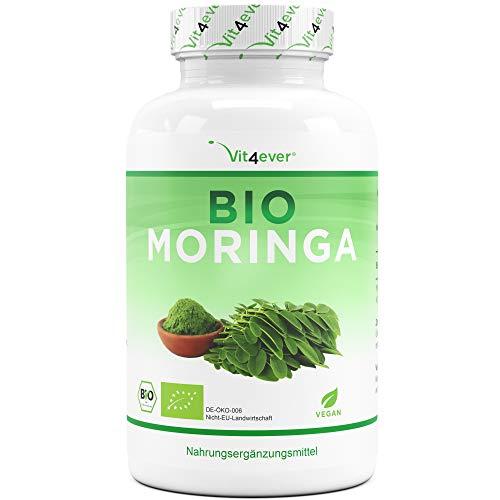 Bio Moringa - 300 Kapseln mit 600 mg - 100% BIO Moringa Oleifera - Superfood besonders reich an Protein, Aminosäuren, Vitaminen, Mineralien und Omega 3 - Laborgeprüft - Vegan - Hochdosiert