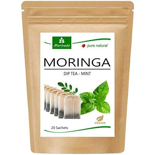 Moringa Tee 100% natürlich & vegan (wahlweise Moringa-Blattmischung, Apfel-Zimt, Granatapfel, Ingwer, Minze). Qualitätsprod. von MoriVeda (20 Beutel Moringa-Blattmischung)