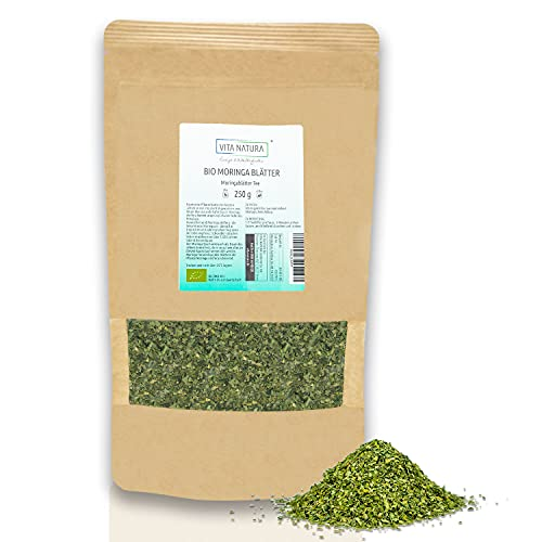 Vita Natura Moringa-Blätter-Tee Bio, schonend luftgetrocknet, aus Ökoprojekt in unberührter Natur Ostafrikas (1 x 250 g)