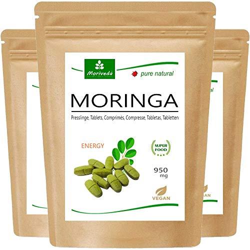 MoriVeda® - Moringa Energy Tabs 950mg oder Moringa Kapseln 600mg – Oleifera, vegan, Qualitätsprodukt (3x120 Presslinge)